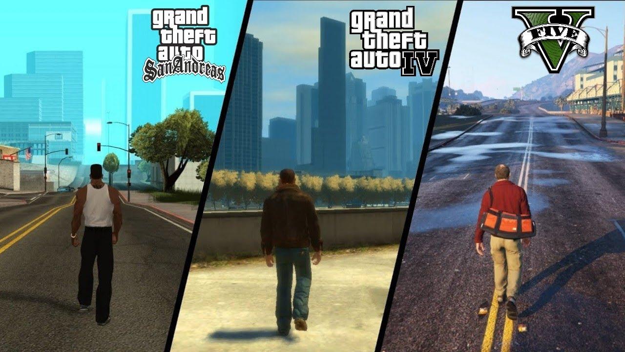 GTA 5 vs GTA 4 vs GTA: San Andreas